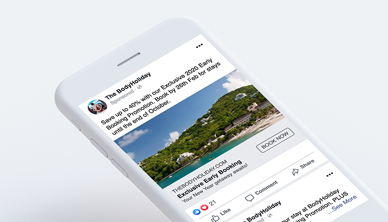 REQ Sunswept Resorts BodyHoliday Facebook ad