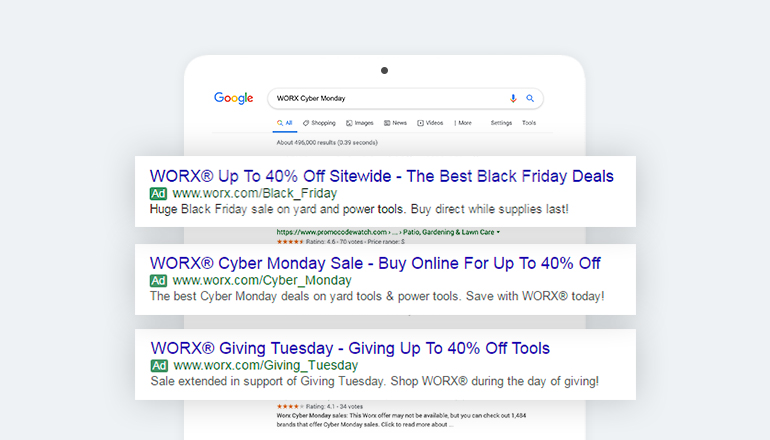 REQ WORX Tools Search Advertising