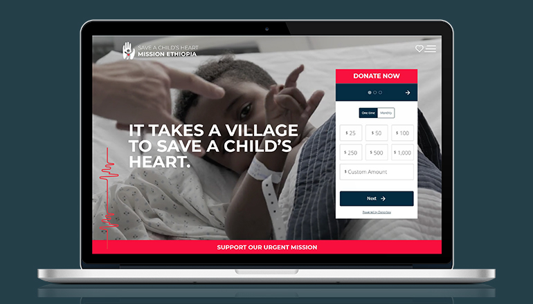 REQ Save a Child's Heart Mission Ethiopia Website on Laptop