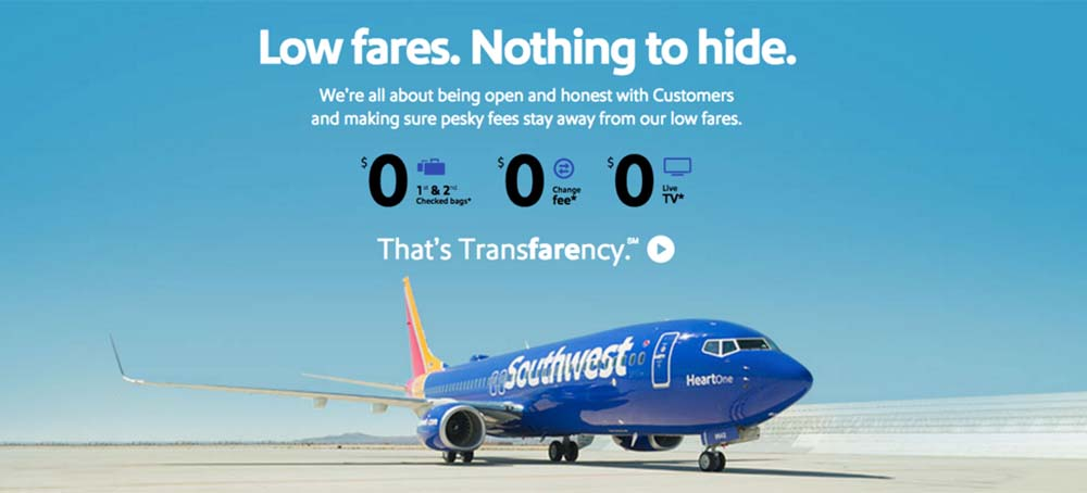 "Southwest Airlines ""that's transfarency"" ad"