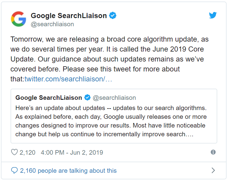 Google Announce June 2019 Core Update