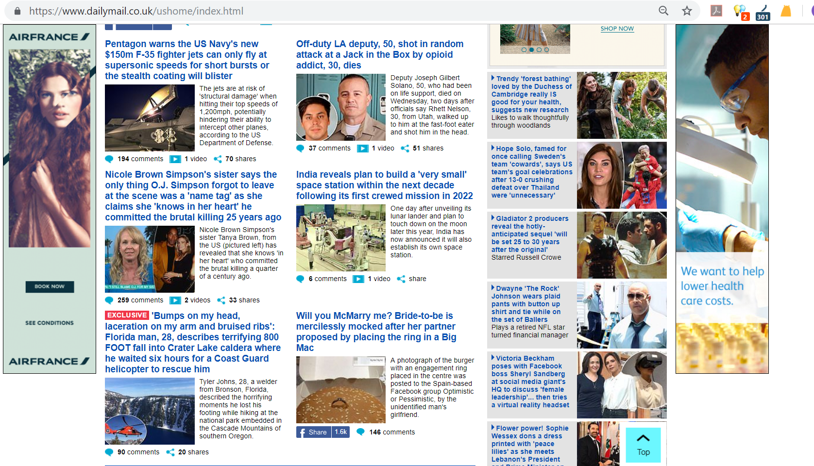Daily Mail Homepage Content