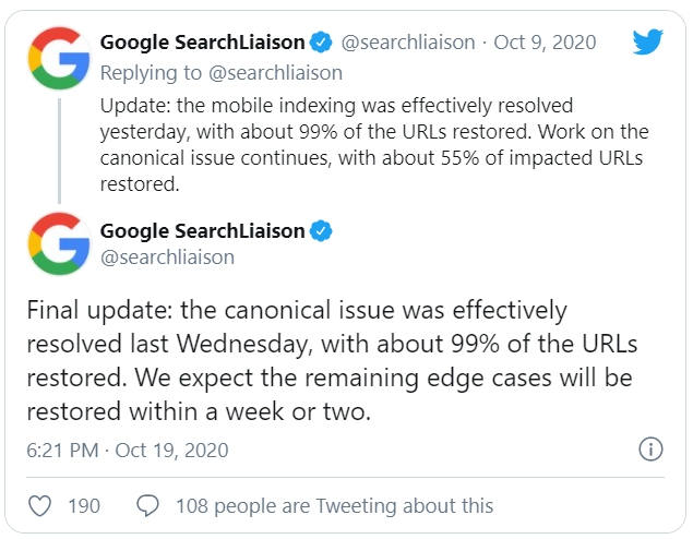 October 2020 SearchLiaison