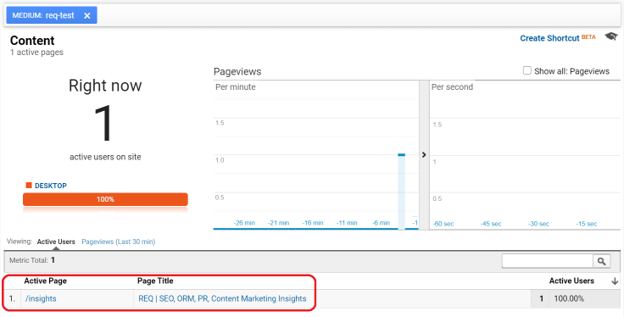 Google Analytics Filtered Realtime Report