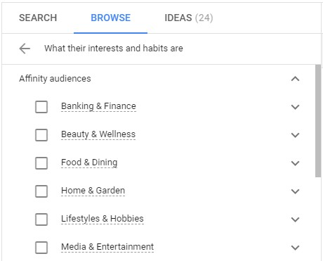 screenshot of Google Ads Affinity Audiences