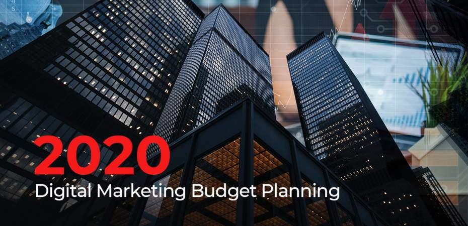 Digital marketing collage showing cityscape and budget planning meeting