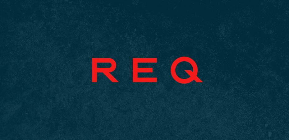 REQ logo in red with navy background