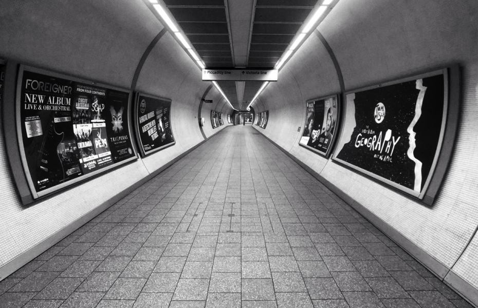 Subway advertising black and white
